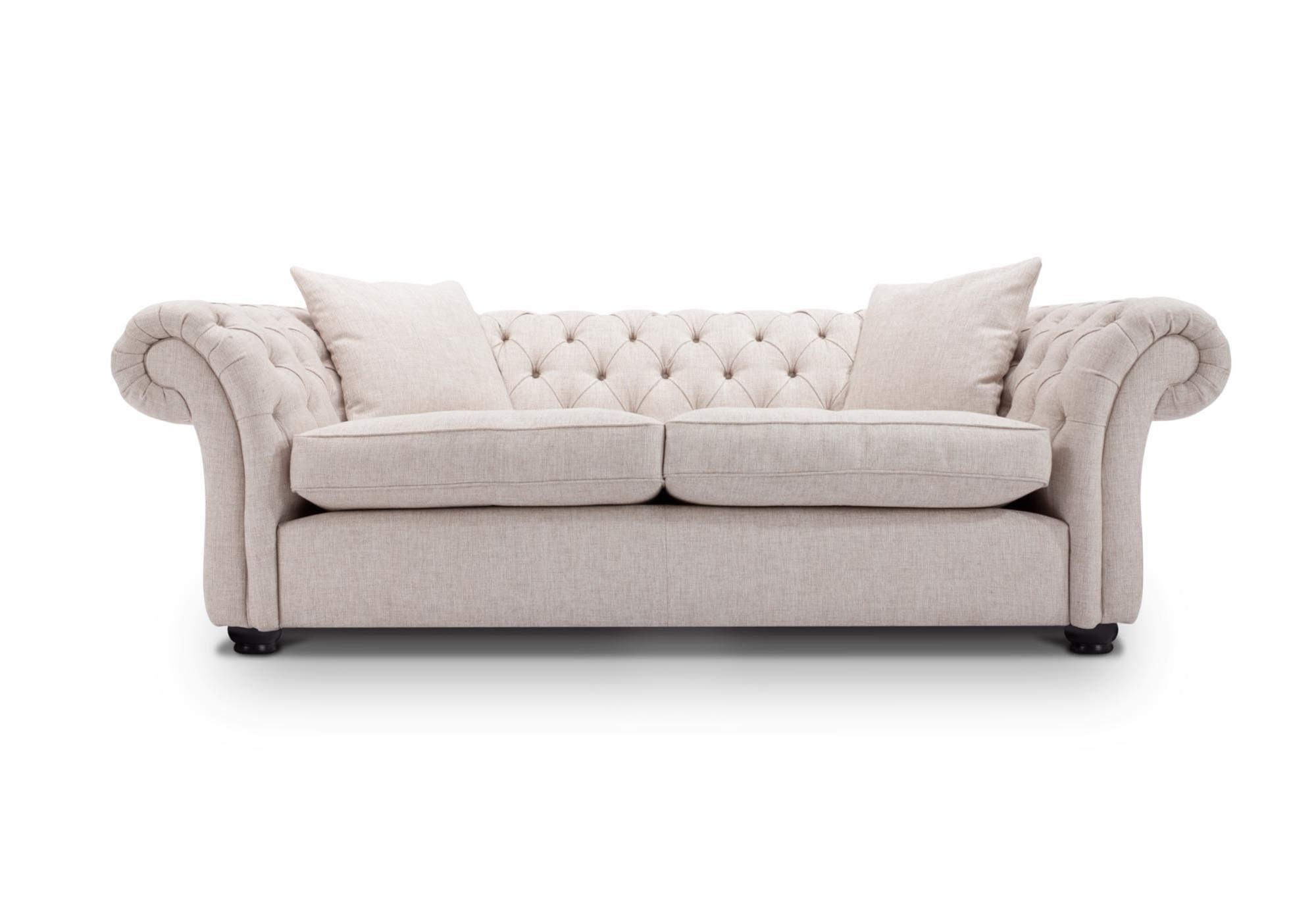 Sofas : Amazing Blue Tufted Sofa White Chesterfield Sofa Small Throughout White Fabric Sofas (Image 16 of 20)