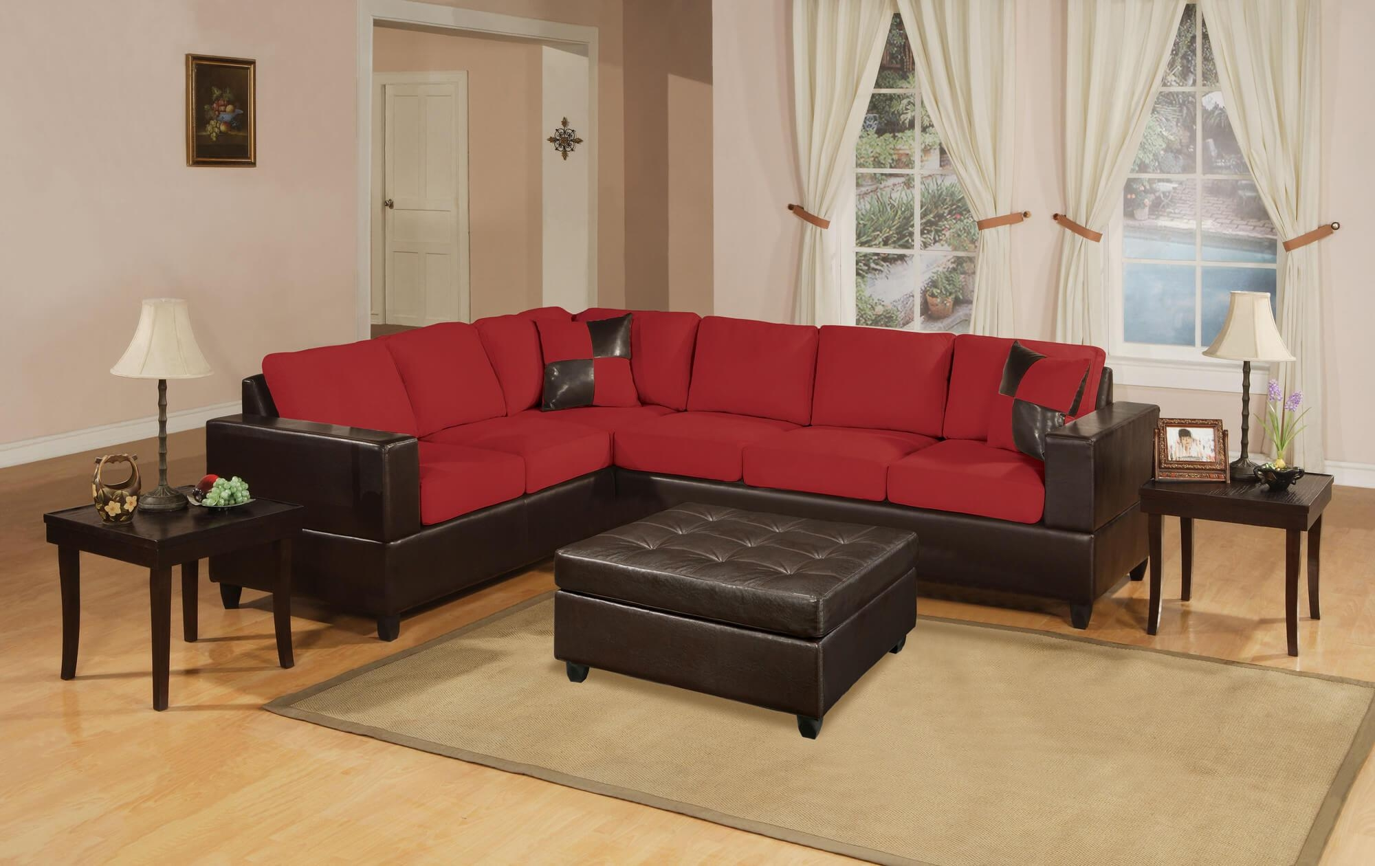 Sofas : Amazing Brown Sectional Couch Leather Chaise Sofa Throughout Red Microfiber Sectional Sofas (Image 18 of 21)