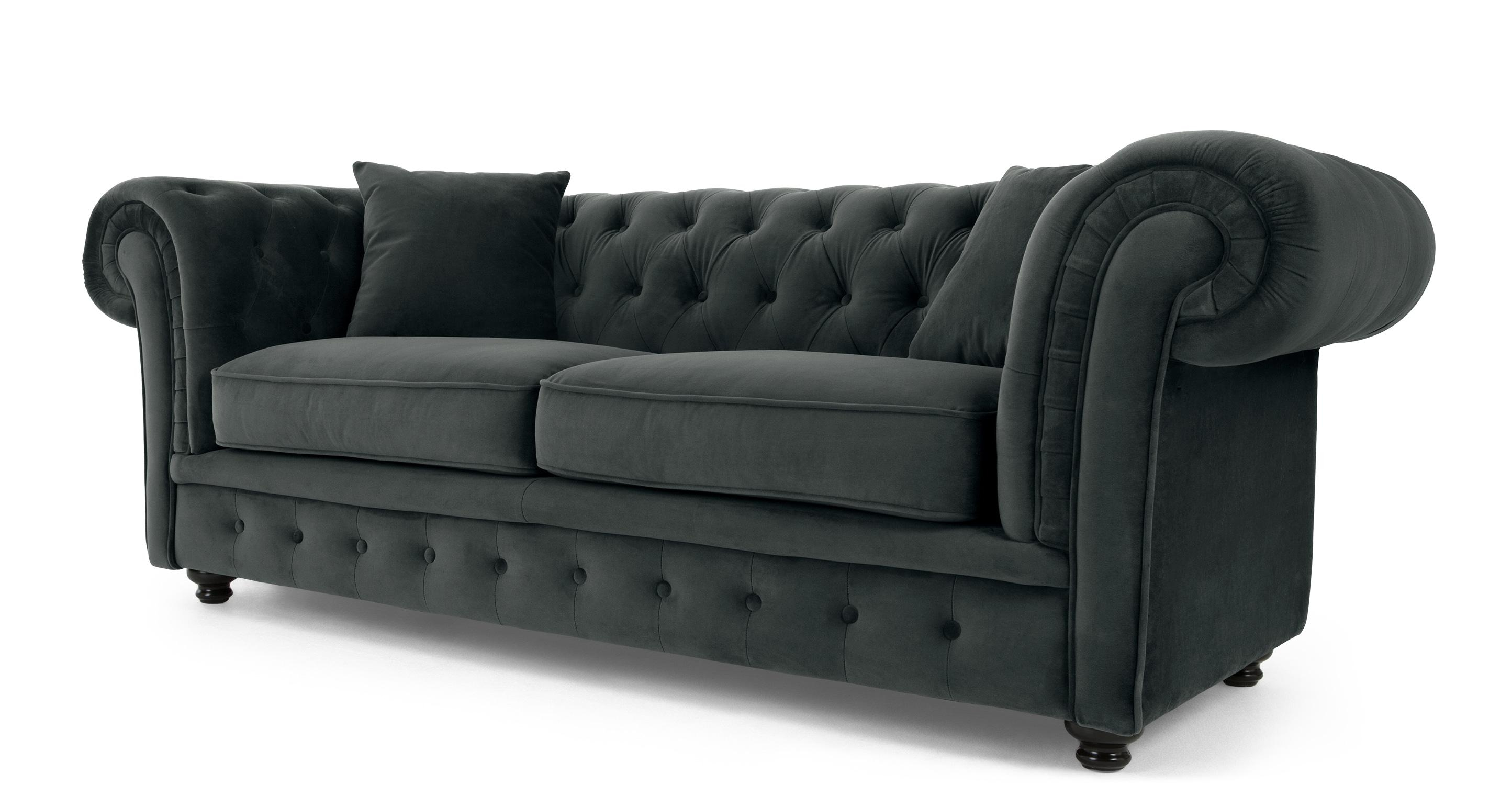 Sofas : Fabulous Grey Tufted Sofa Blue Grey Sofa Leather Couches With Blue Tufted Sofas (View 22 of 22)