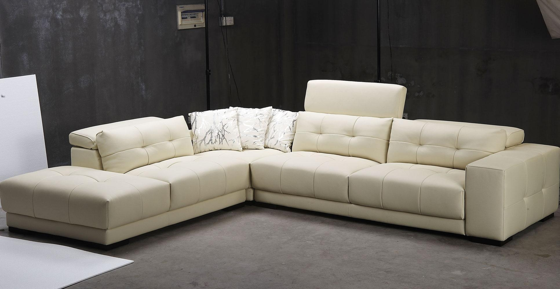 Sofas : Fabulous Leather Sleeper Sofa Sofas And Sectionals Modern Regarding Cream Sectional Leather Sofas (Image 20 of 22)