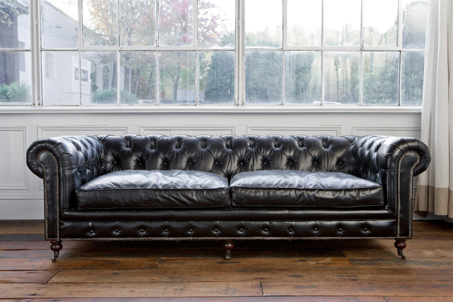 Sofas : Magnificent Black Leather Sofa L Shaped Sofa Cheap Tufted Pertaining To Chesterfield Black Sofas (Image 17 of 20)