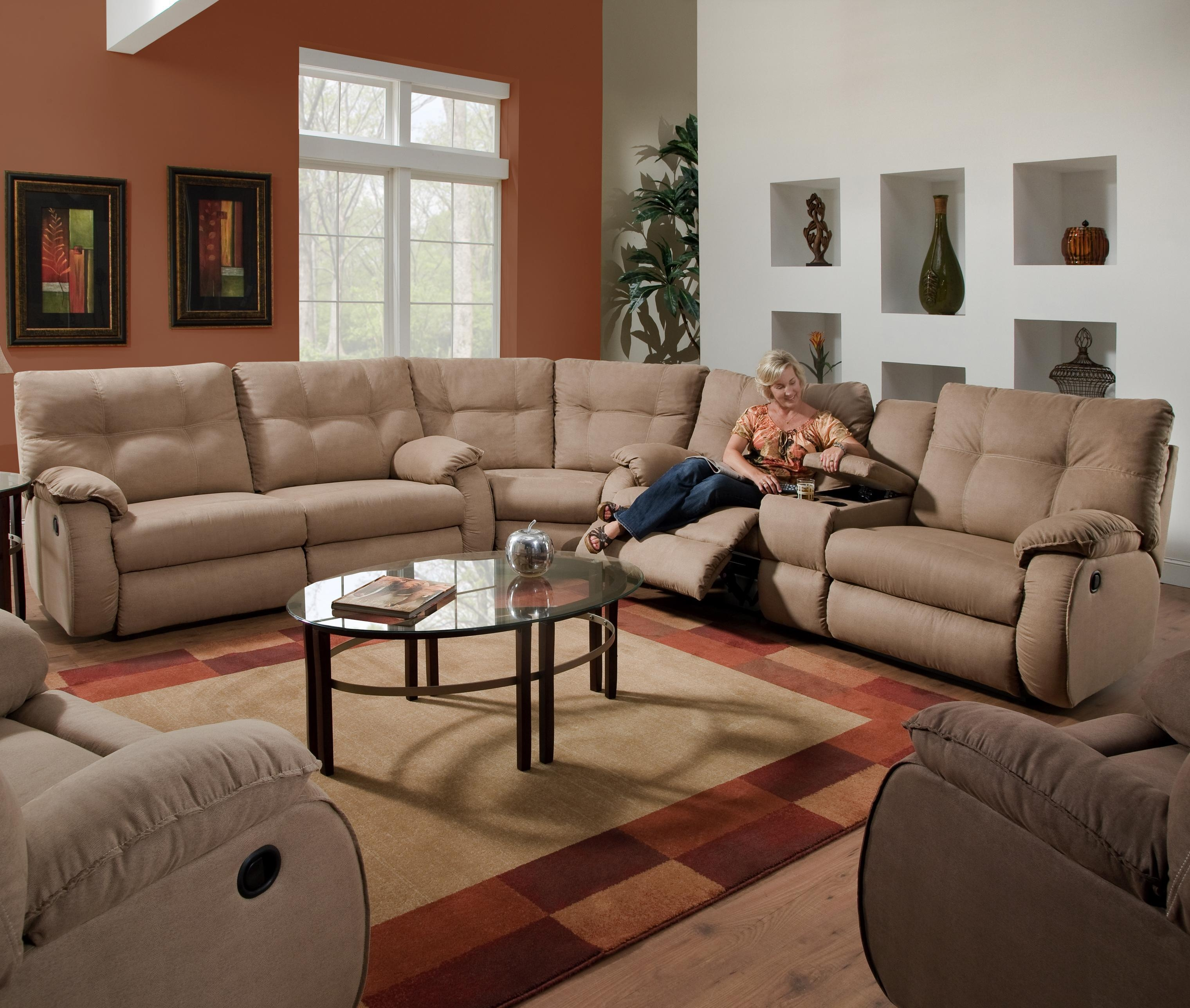 Sofas : Magnificent Fabric Reclining Sectional Sleeper Sectional Throughout Sectional Sofa Recliners (View 5 of 20)