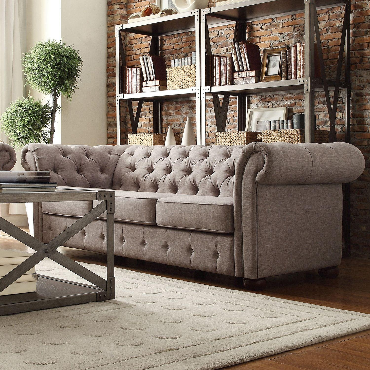 Sofas : Magnificent Leather Chesterfield Suites Sofa Couch Throughout Cheap Tufted Sofas (Image 15 of 23)