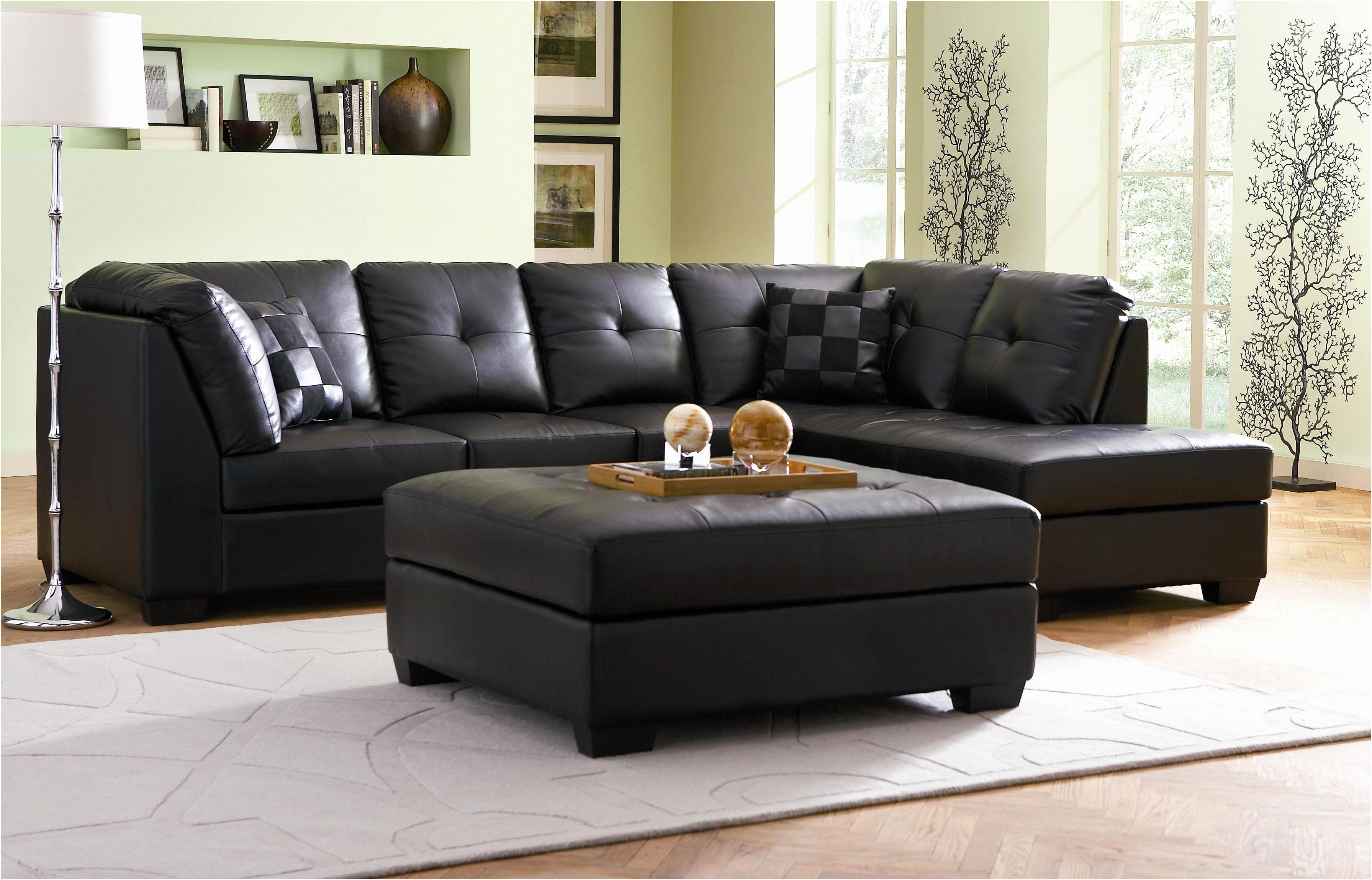 Sofas : Marvelous Black Sectional Sofa Small Sectional Couch Grey Intended For Black Leather Sectional Sleeper Sofas (Image 18 of 21)