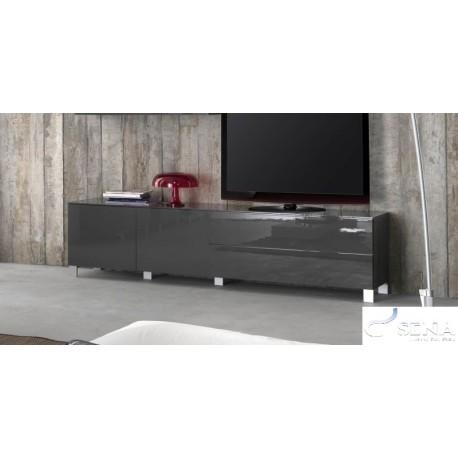 Sofia Grey High Gloss Tv Stand Assembled – Tv Stands – Sena Home Within Most Popular High Gloss Tv Bench (View 13 of 20)