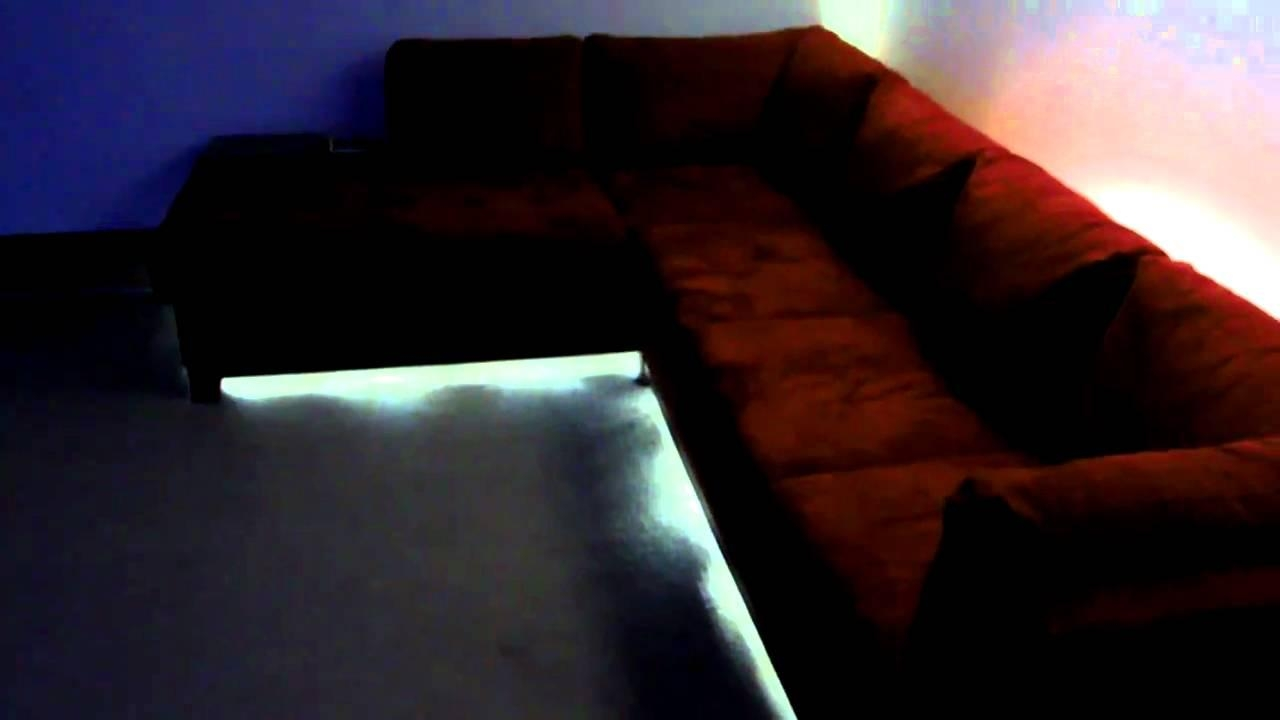 Soho Red Led Lighting On Sectional Couch – Youtube Pertaining To Sofas With Lights (Image 20 of 21)