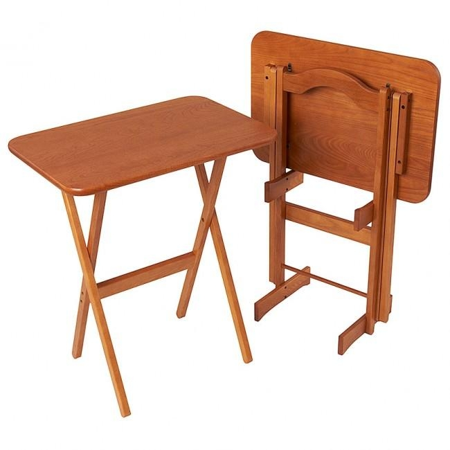 Solid Ash Folding Tv Tray Table Set – Manchester Wood For Most Current Folding Wooden Tv Tray Tables (Image 16 of 20)