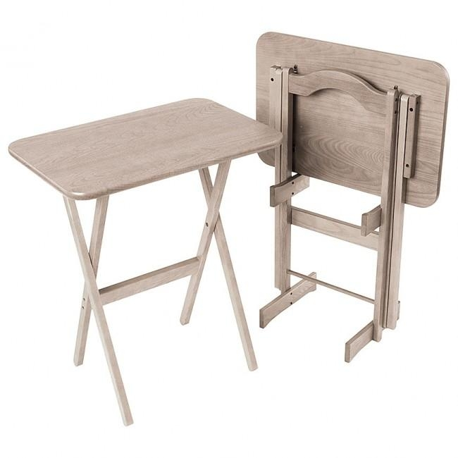 Solid Ash Folding Tv Tray Table Set – Manchester Wood With Regard To Most Current Folding Tv Tray (Image 16 of 20)