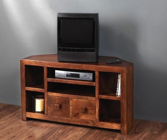 Solid Mango Wood Corner Tv Unit | Casa Bella Handcrafted Furniture Pertaining To Most Up To Date Wooden Corner Tv Units (Image 17 of 20)