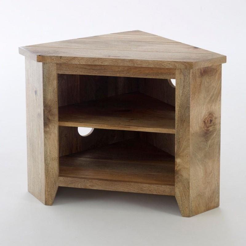 Solid Mango Wood Corner Tv Unit In A Rustic Style Finish with regard to Latest Rustic Corner Tv Cabinets