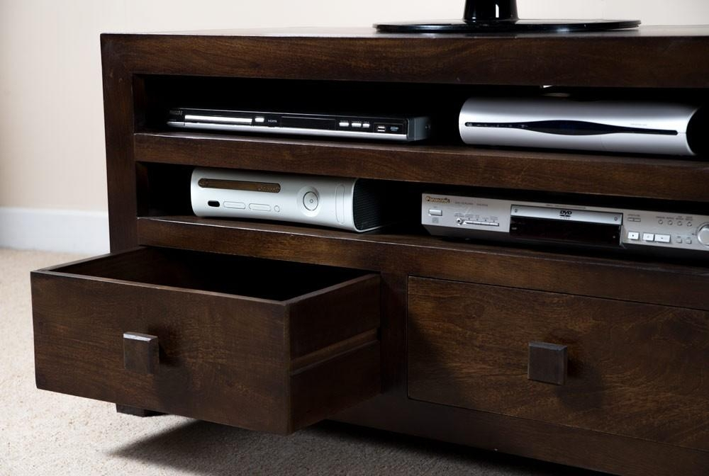 Solid Mango Wood Tv Cabinet With Drawers | Casa Bella Indian Furniture Inside Newest Dark Wood Tv Cabinets (Image 14 of 20)