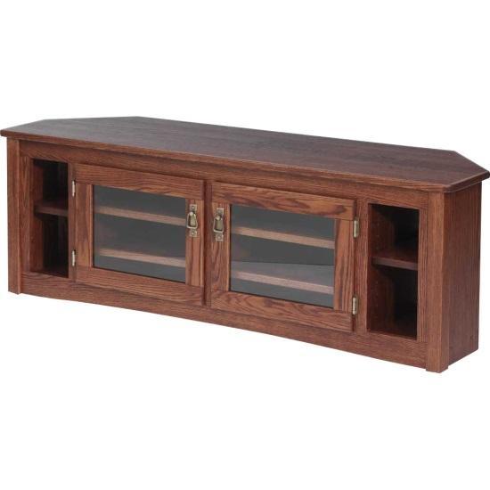 Solid Oak Mission Style Corner Tv Stand – 60″ – The Oak Furniture Shop In Latest Oak Corner Tv Stands (View 16 of 20)