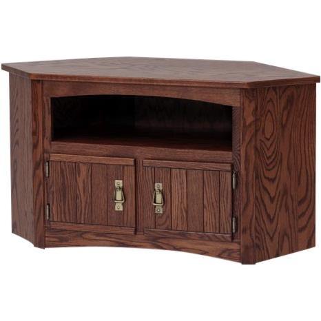 Solid Oak Mission Style Corner Tv Stand/cabinet – 41″ – The Oak Inside Most Recent Solid Wood Corner Tv Cabinets (Image 13 of 20)