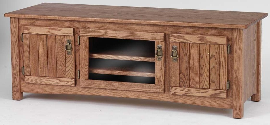 Solid Oak Mission Style Tv Stand W/cabinet  60″ – The Oak Pertaining To Current Solid Oak Tv Cabinets (Image 14 of 20)