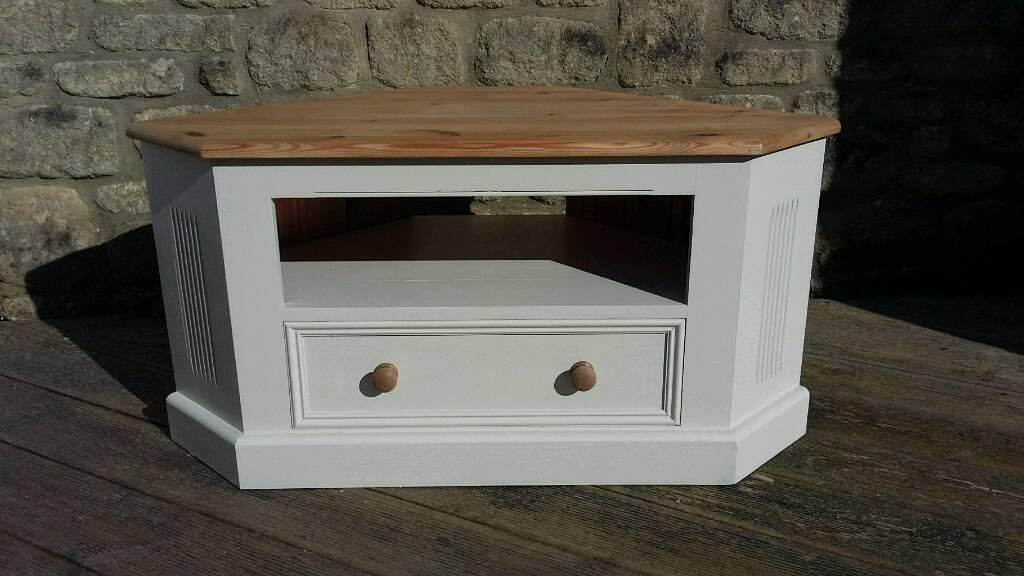 Solid Pine Corner Tv Cabinet Unit Painted In Farrow & Ball Off For Best And Newest Shabby Chic Corner Tv Unit (Image 12 of 20)