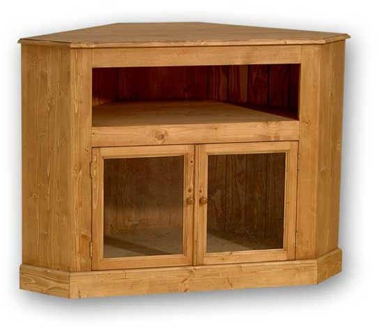 Solid Pine Widescreen Corner Tv Unit With Glass Doors With Regard To Recent Corner Tv Cabinets With Glass Doors (Image 19 of 20)