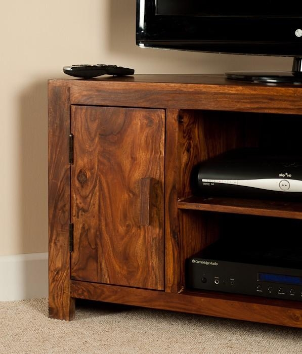 Solid Sheesham Wood Television Stand | Corner Tv Unit | Casa Bella Inside Most Up To Date Sheesham Wood Tv Stands (Image 17 of 20)