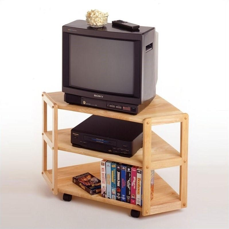 Solid Wood Corner Tv Stand In Beech – 83423 Intended For Recent Beech Tv Stand (View 11 of 20)