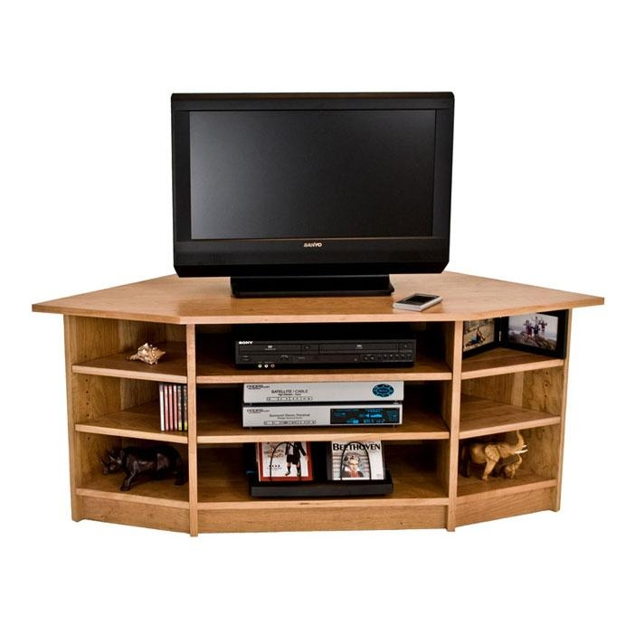 Solid Wood Corner Tv Stand In Cherry | Maple | Walnut | Oak Hardwood Intended For Most Recently Released Walnut Corner Tv Stands (Image 16 of 20)