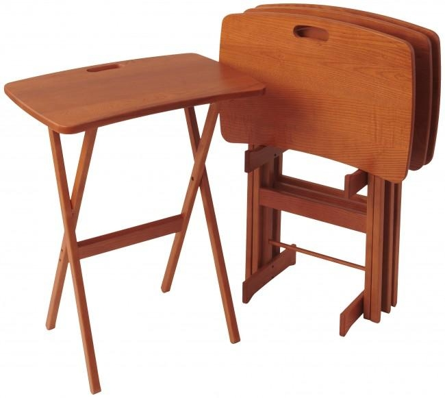 Solid Wood Folding Tv Tray Tables – Portable Work Desks Throughout Most Up To Date Folding Wooden Tv Tray Tables (Image 17 of 20)