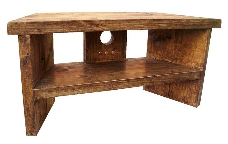 Solid Wood Handmade Rustic Pine Corner Tv Stand Unit Corner Tv Intended For Latest Rustic Corner Tv Cabinets (View 9 of 20)