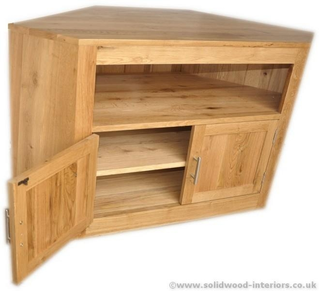 Solid Wood Interiors > Solid Oak Corner Tv Unit Pertaining To Most Up To Date Oak Tv Cabinets With Doors (Image 18 of 20)
