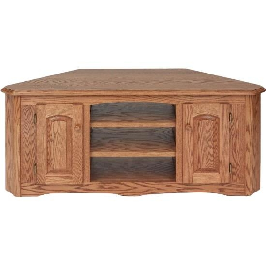 Solid Wood Oak Country Corner Tv Stand W/cabinet – 55″ – The Oak With Most Up To Date Real Wood Corner Tv Stands (View 1 of 20)