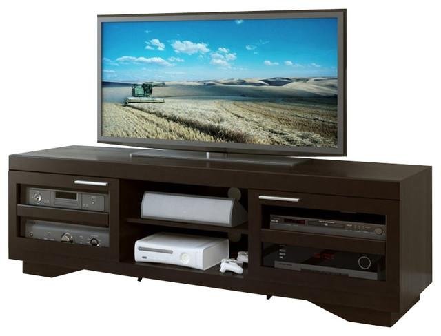 "Sonax Granville 66"" Wood Veneer Tv Stand In Mocha Black – Modern Within Most Up To Date 80 Inch Tv Stands (Image 17 of 20)"