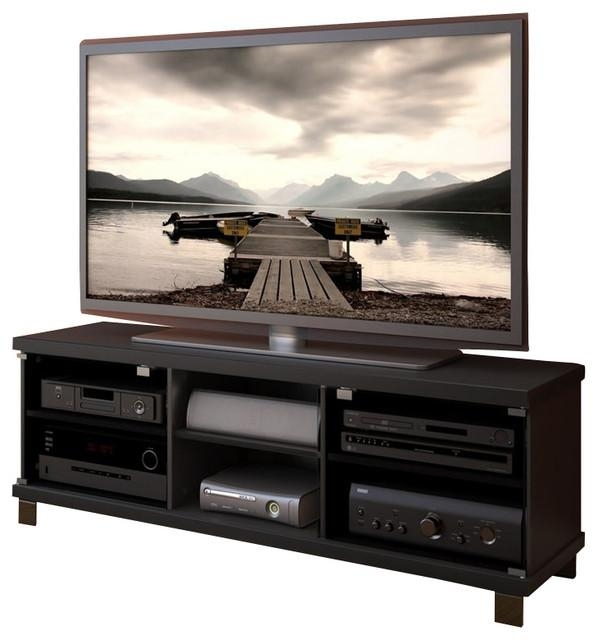 Sonax Hollow Core Tv Stand And Component Bench In Midnight Black Regarding Most Recently Released Bench Tv Stands (Image 17 of 20)