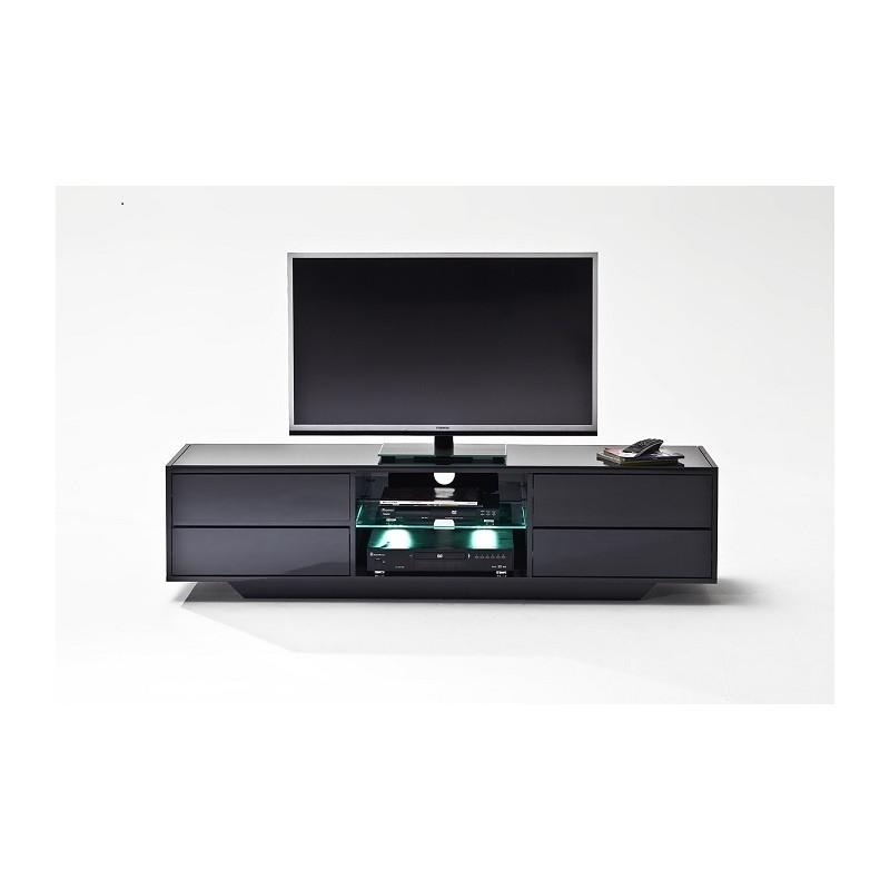 Song – Black Gloss Tv Unit With Led Lights – Tv Stands – Sena Home Pertaining To Most Recently Released Tv Units Black (View 3 of 20)