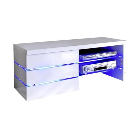 Sonia White High Gloss Tv Stand With Led Lights And Glass Tv Intended For Latest High Gloss White Tv Cabinets (Image 14 of 20)