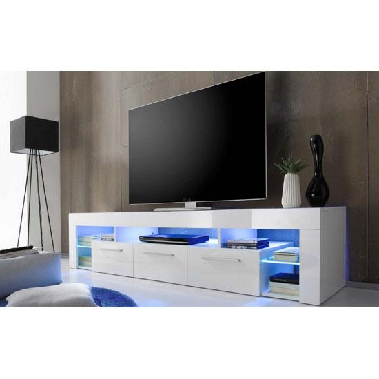 Sorrento Large Tv Stand In White High Gloss With Blue Led In 2018 Tv Stands With Led Lights (View 2 of 20)