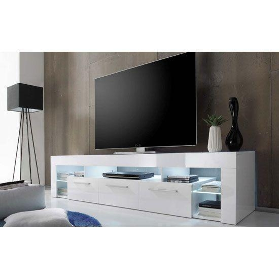 Sorrento Large Tv Stand In White High Gloss With White Led Light For Most Recent White High Gloss Tv Stand Unit Cabinet (Image 17 of 20)