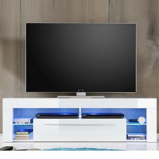 Sorrento Lowboard Tv Stand In White High Gloss With Blue With Regard To Best And Newest Tv Stands With Led Lights (Image 18 of 20)