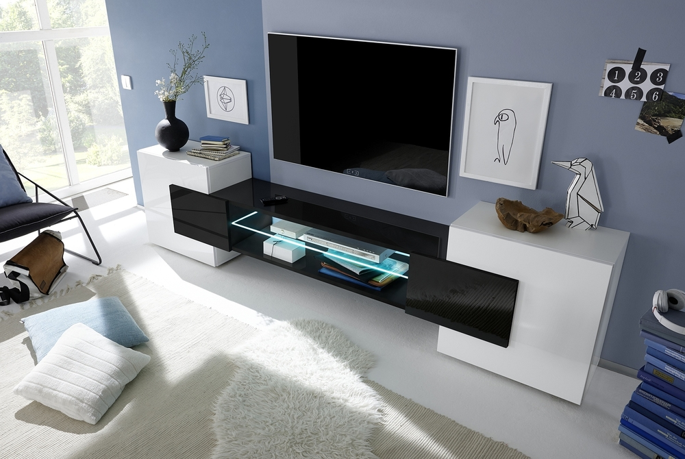 Sorriso Low Tv Unit – White Gloss With Grey/black/natural Lacquer Throughout Newest Low Tv Units (View 7 of 20)