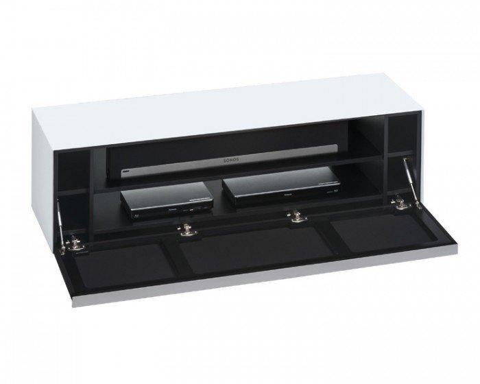 Sound Concept 7736 3673 Matt White Glass Tv Stand With Black With Recent White Glass Tv Stands (View 15 of 20)