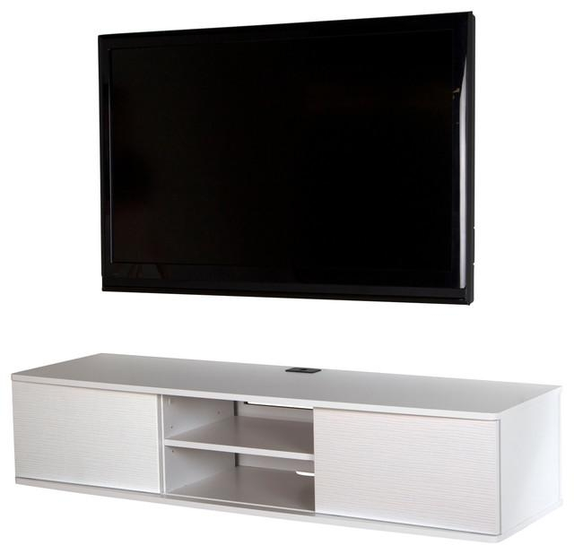"South Shore Agora 56"" Wide Wall Mounted Media Console For Most Up To Date White Contemporary Tv Stands (Image 18 of 20)"