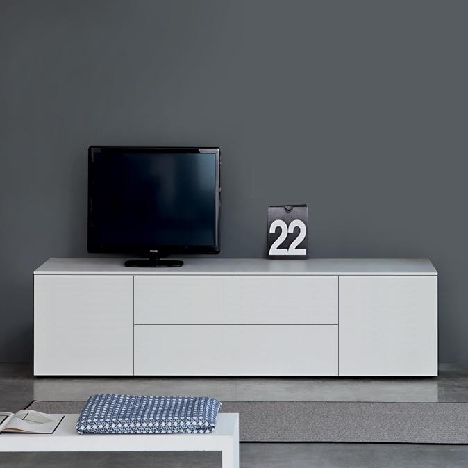 Space White Tv Unit In Best And Newest Tv Drawer Units (View 14 of 20)