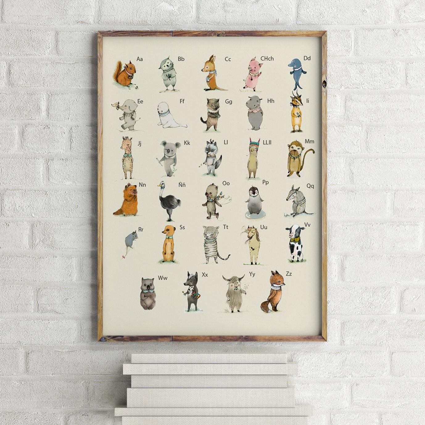 Spanish Abc Animals Alphabet Poster Learning A3 Size Throughout Italian Nursery Wall Art (Image 11 of 20)