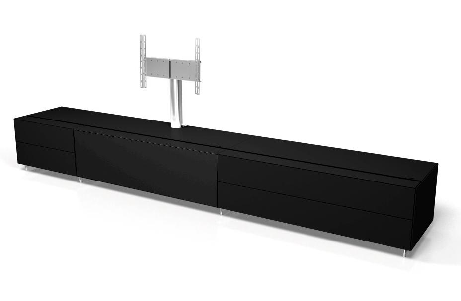 Spectral Cocoon Co1001 Gloss Black Tv Cabinet W/ Tv Bracket Inside Most Up To Date Large Black Tv Unit (Image 16 of 20)
