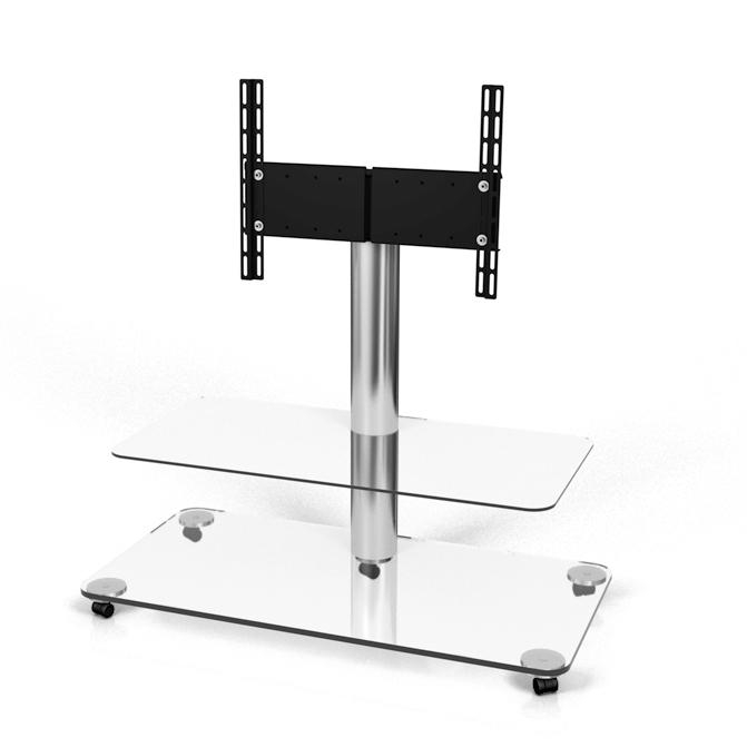 Spectral Floor Qx1212 Aluminium / Clear Glass Tv Stand – Trolleys For Latest Clear Glass Tv Stand (View 5 of 20)