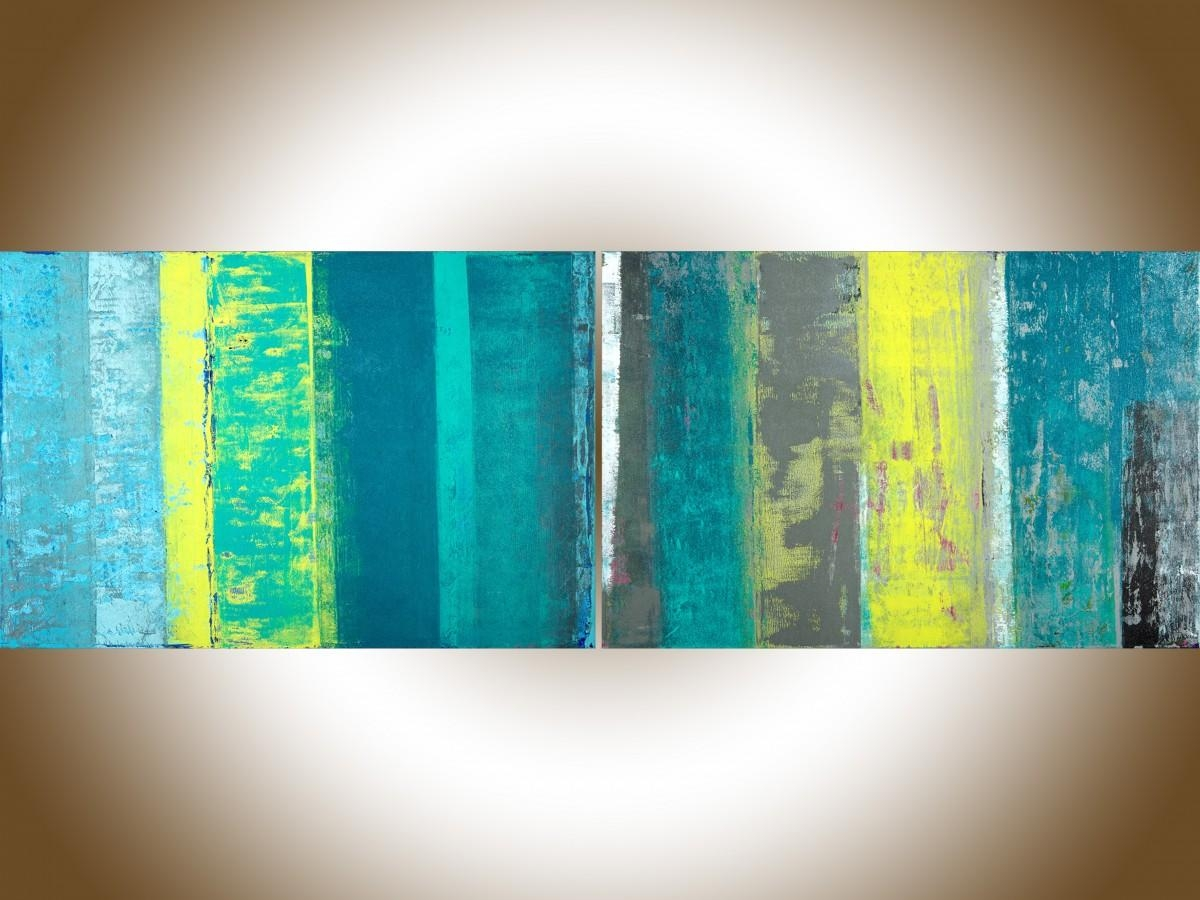"Spring Ribbonqiqigallery 72"" X 24"" Extra Large Wall Art With Regard To Teal And Green Wall Art (View 7 of 20)"