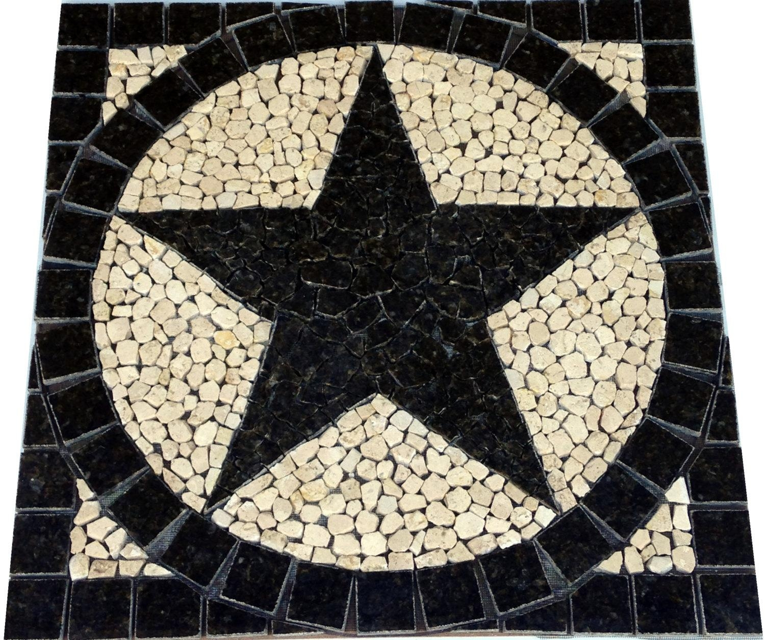 Sq Uba Tuba Granite Texas Star Mosaic Tile Medallion Intended For Texas Star Wall Art (Image 3 of 20)