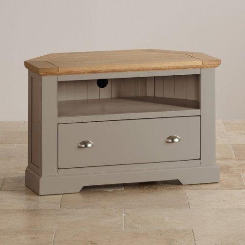 St Ives Corner Tv Unit In Grey Painted Acacia With Oak Top Inside Most Popular Light Oak Tv Corner Unit (View 7 of 20)