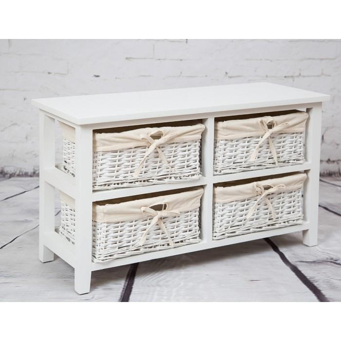 Stand With Four Wicker Baskets Pertaining To Newest Tv Stands With Baskets (Image 15 of 20)