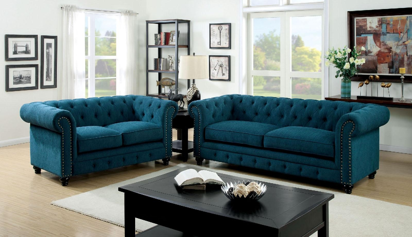 Stanford Blue Tufted Sofa Within Blue Tufted Sofas (Image 17 of 22)
