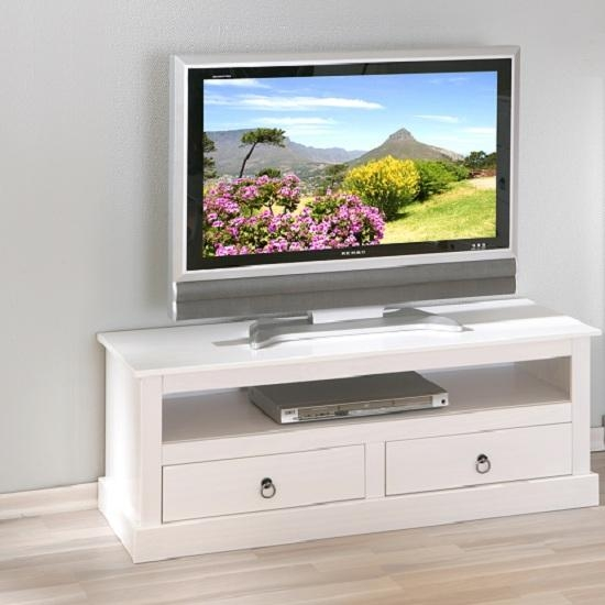 Stanley Lcd Tv Stand In White With 2 Drawers 19145 Regarding Current White Wood Tv Stands (View 2 of 20)