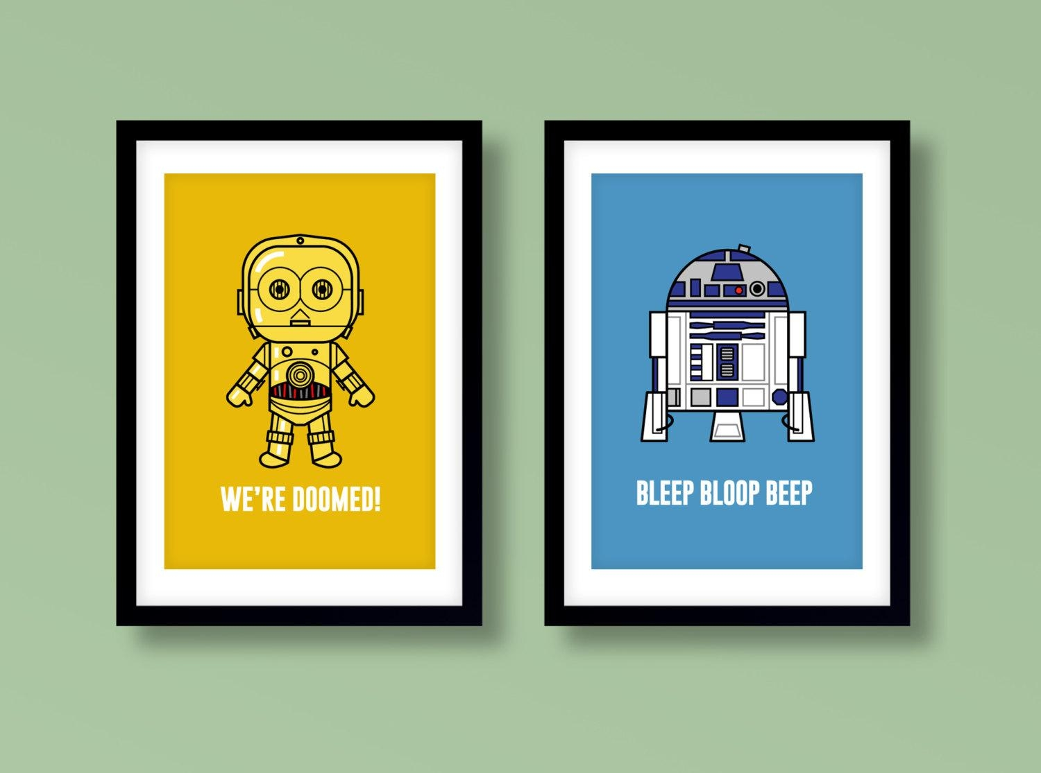 Star Wars Inspired Wall Art Kids Wall Art Star Wars R2 D2 In Diy Star Wars Wall Art (View 1 of 20)