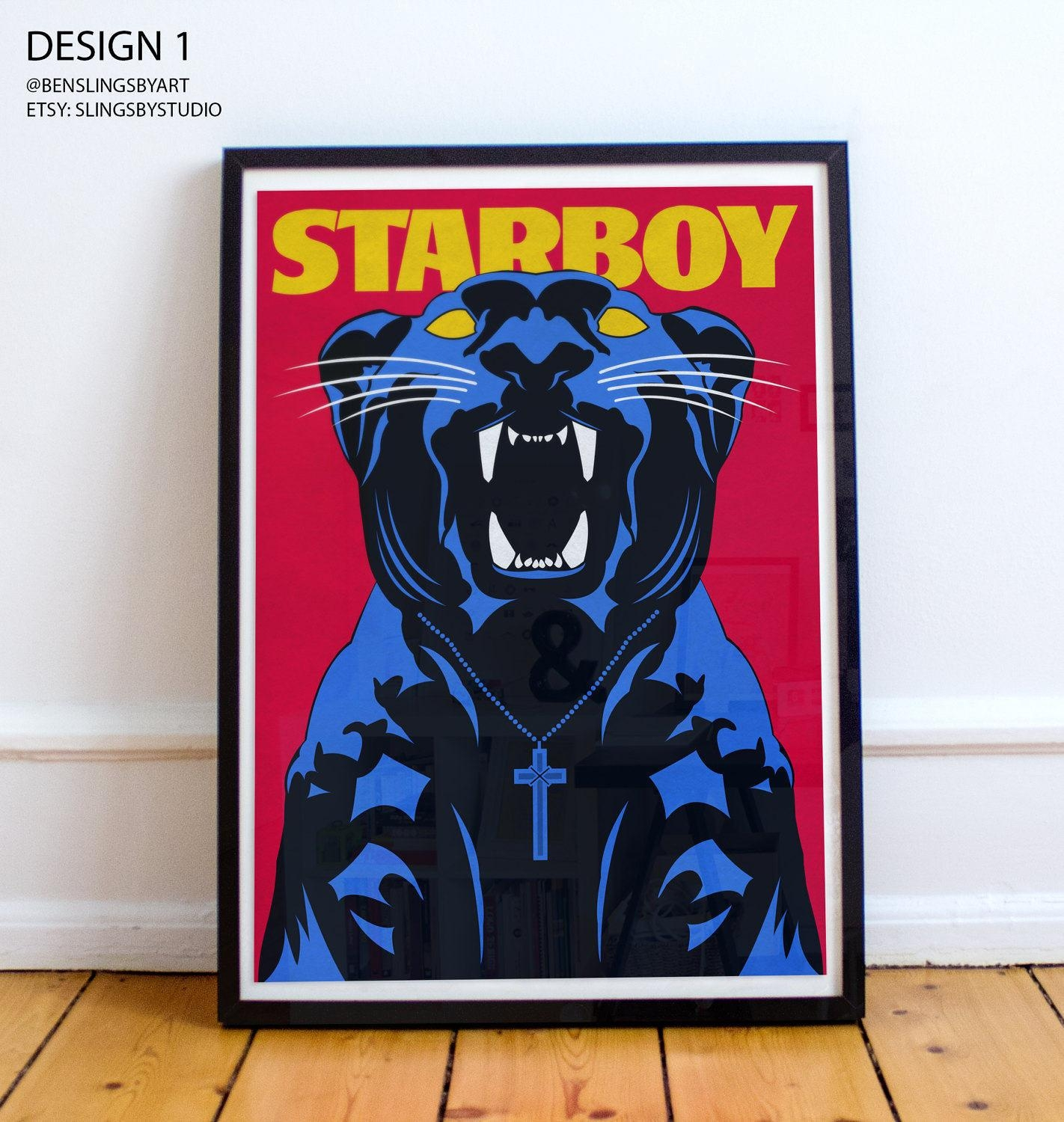 Starboy Panther Poster The Weeknd A4 A3 A2 A1 Intended For The Weeknd Wall Art (Image 6 of 20)