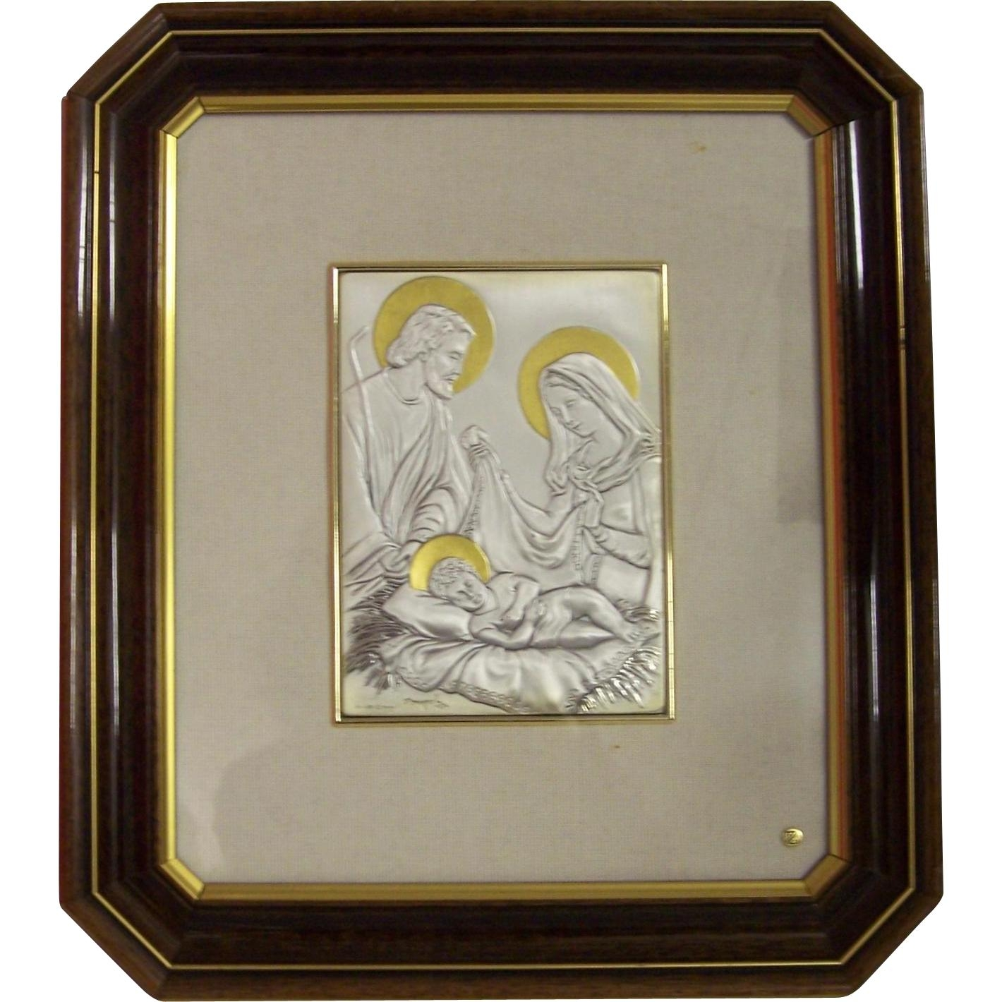Sterling Silver Italy Holy Family Romagnoli Wall Plaque Zeta In Italian Silver Wall Art (Image 14 of 20)